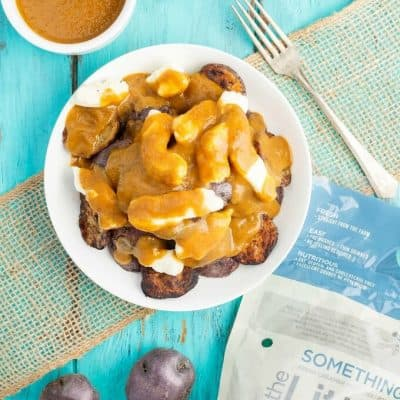 Grilled Potato Poutine (Vegetarian) + Giveaway