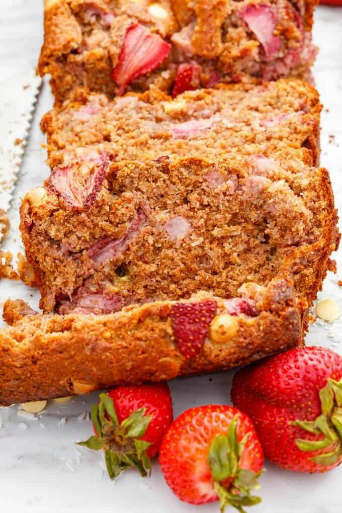 White Chocolate Strawberry Banana Bread